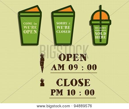Summer fresh smoothie cafe signs concept. Open and Closed elements. Organic lifestyle design with in
