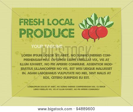 Summer Farm Fresh poster, template or brochure design with radish. Mock up design with shadow. Best