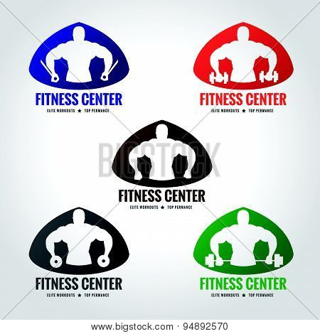 Fitness center logo 5 style (Men's muscle strength and weight lifting)