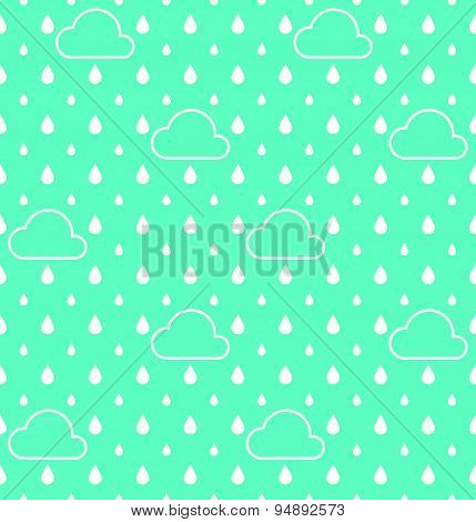 White Raindrops and white cloud pattern vector background