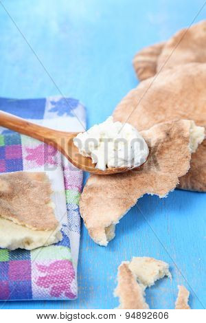 Pita Bread And Soft Cheese