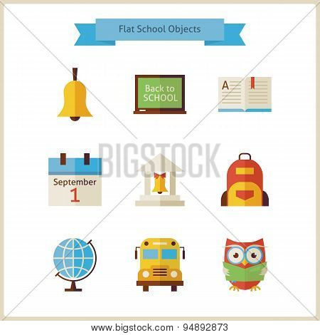 Flat Back To School And Science Objects Set