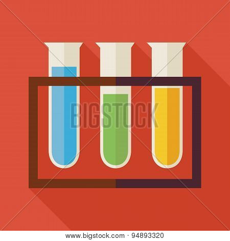 Flat Education And Science Chemistry Glass Bulb Illustration With Long Shadow