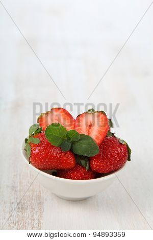 Ripe Strawberries And Mint