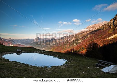 Little Lake, In An Autumn Morning In The Alps