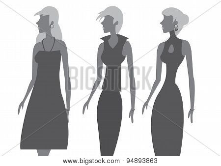 Ladies Sleeveless Dress Fashion Vector Illustration