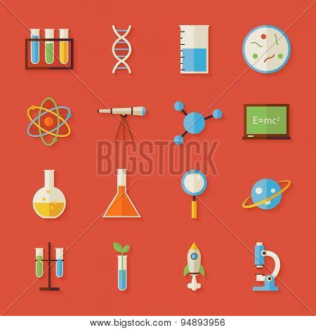 Flat Science And Education Objects Set With Shadow