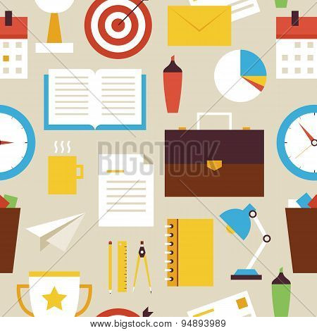 Flat Seamless Pattern Business And Office Objects Over Beige