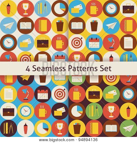 Four Vector Flat Seamless Business And Office Patterns Set With Colorful Circles