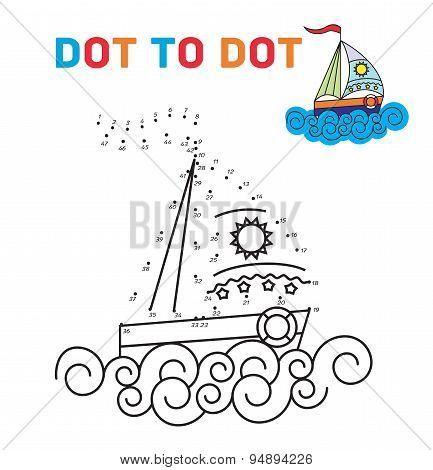Coloring book dot to dot. The boat. For teaching young children. Connect the dots by numbers and pai