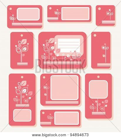 Tags and Labels with Pink Leaves