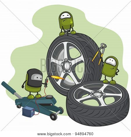 Small green characters repairing car wheels