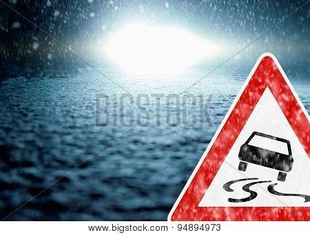 Winter Night Driving - Winter Road - Caution Sleekness