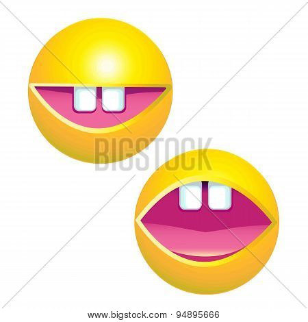 Yellow Smiley Face With Big Toothy Smile