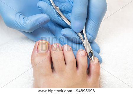 process of pedicure at beauty salon
