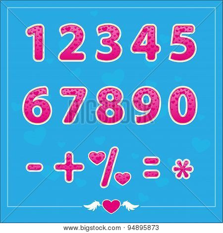 Romantic Love Illustrations Numbers For Holidays