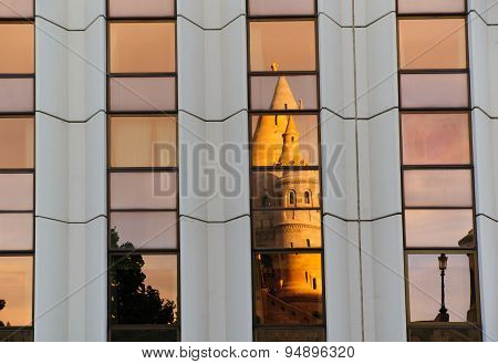 Reflection of The Fisherman's Bastion in Budapest