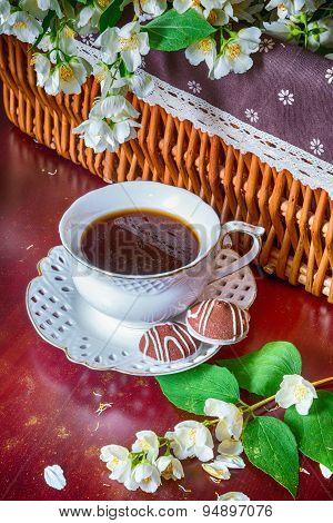 Coffee Mug And Jasmine Flowers