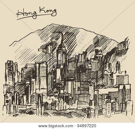Hong Kong big city architecture hand drawn sketch