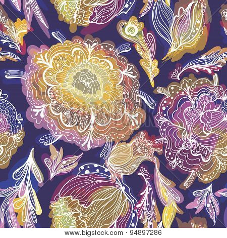 Vector Texture with Paradise Floral Motif
