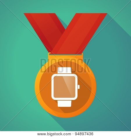 Long Shadow Medal With A Smart Watch