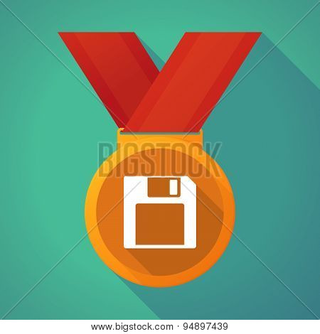 Long Shadow Medal With A Floppy Disk