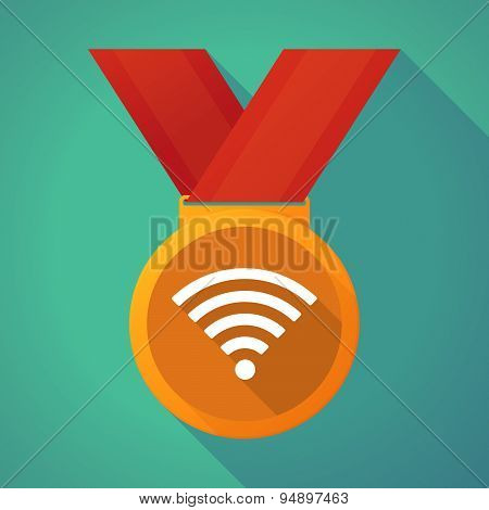 Long Shadow Medal With A Radio Signal Sign