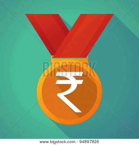 Long Shadow Medal With A Rupee Sign