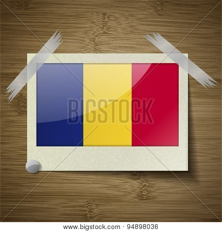 Flags Romania At Frame On Wooden Texture. Vector