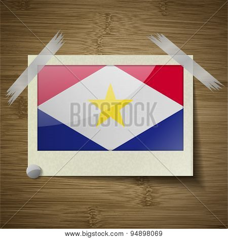 Flags Saba At Frame On Wooden Texture. Vector