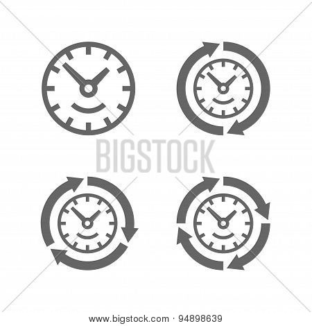 Clocks with arrows as a symbol of run of time