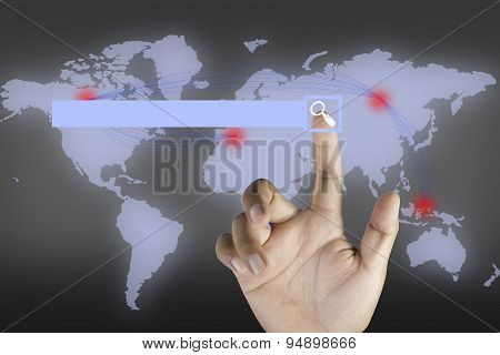 Hand Finger Pushing  Web Search Button