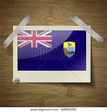 Flags Saint Helena At Frame On Wooden Texture. Vector