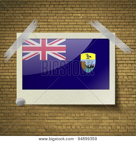 Flags Saint Helenaat Frame On A Brick Background. Vector