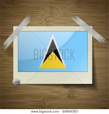 Flags Saint Lucia At Frame On Wooden Texture. Vector