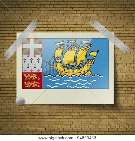 Flags Saint Pierre Miquelonat Frame On A Brick Background. Vector