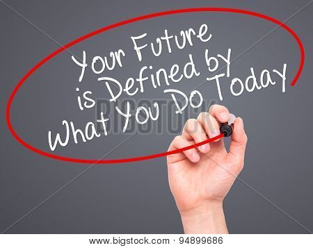 Man Hand writing Your Future is Defined by What You Do Today with black marker on visual screen.