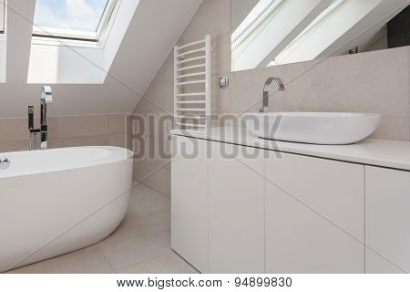 Beige And White Bathroom Interior