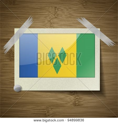 Flags Saint Vincent Grenadines At Frame On Wooden Texture. Vector