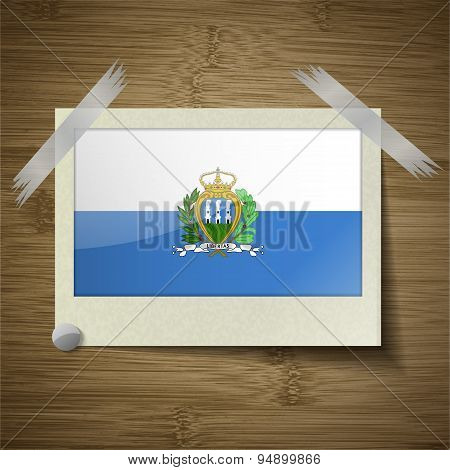 Flags San Marino At Frame On Wooden Texture. Vector