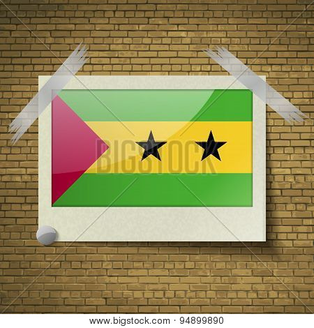 Flags Sao Tome Principeat Frame On A Brick Background. Vector