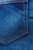 image of denim jeans  - closeup detail of blue denim jeans trouses pocket texture background - JPG