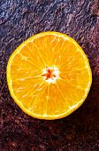 foto of mandarin orange  - Orange mandarin fresh tangerine half top view - JPG