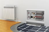 stock photo of floor heating  - floor heating system the collector the battery - JPG