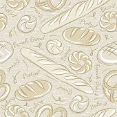 foto of baps  - Background with different breads. Ideal for printing onto fabric and paper or scrap booking - JPG