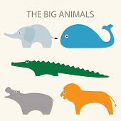 picture of hippopotamus  - A set of vector illustrations of big animals including elephant - JPG