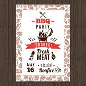 picture of hen party  - Bbq party promo poster with fresh grilled meat elements vector illustration - JPG