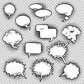 image of oval  - Comic speech bubbles icons collection of cloud oval rectangle and jagged shape contours abstract isolated vector illustration - JPG