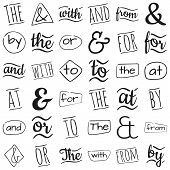 foto of ampersand  - Ampersands and catchwords the by and  with or for to at from - JPG