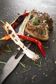 pic of leek  - Lamb chops cooked on the grill with leek and red pepper - JPG